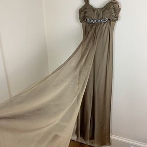 JS Collection Taupe Crystal Beaded Gown 4